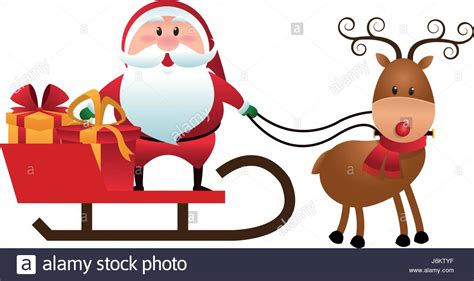 christmas santa claus reindeer sledge gifts cartoon stock