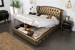 King Platform Bed With Storage Headboard Bronze Leather Bed With Lift Up Storage And Tufted