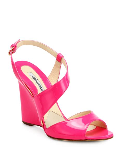 pink patent sandals brian atwood anabel patent leather wedge sandals in pink