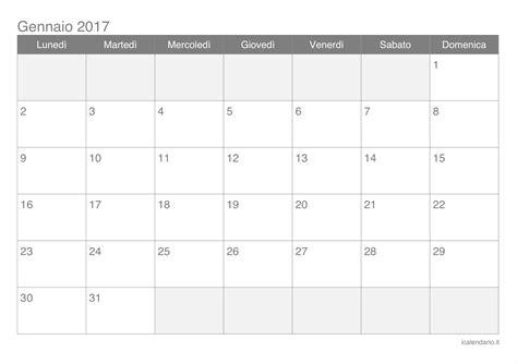 Calendario Ottobre 2017 Calendario Gennaio 2017 Da Stare Icalendario It