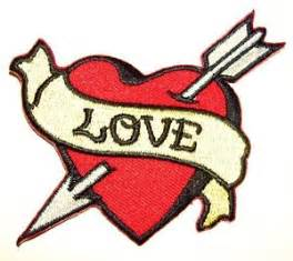 love heart embroidered iron on patch tattoo sailor jerry