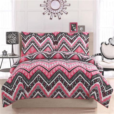 black chevron comforter set girl teen kid zigzag chevron black white pink twin full