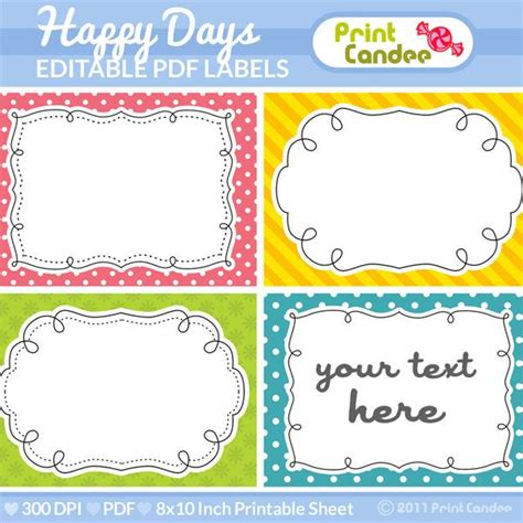 rectangle printable tags rectangle editable pdf 8x10 happy days labels no 222