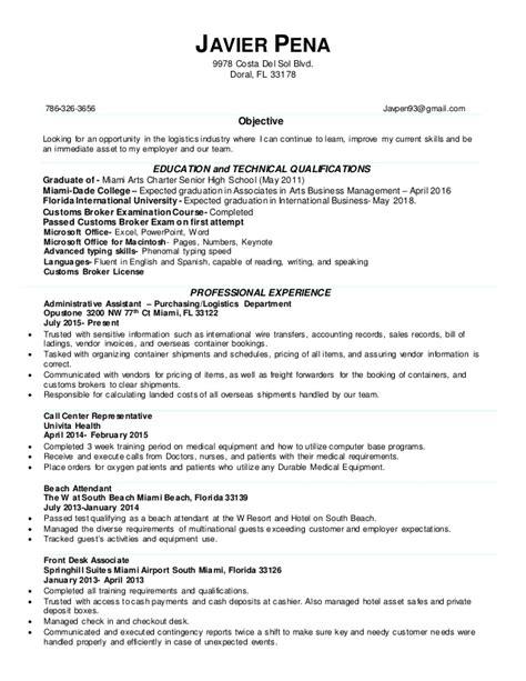 Customs Broker Sle Resume by Resume Customs Broker