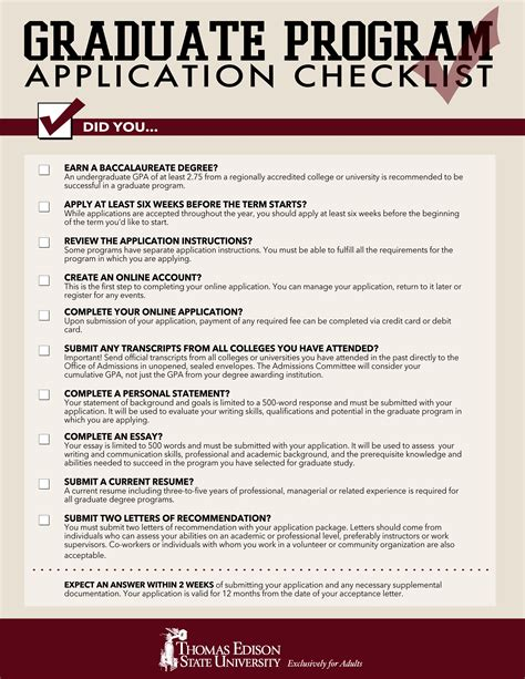 free graduate school application checklist