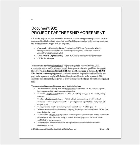 project partnership agreement template partnership agreement template 12 agreements for word
