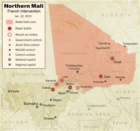 political map of mali mali conflict map douentza secured by government january