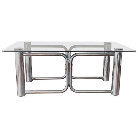 mid century modern chrome coffee table with smoked glass