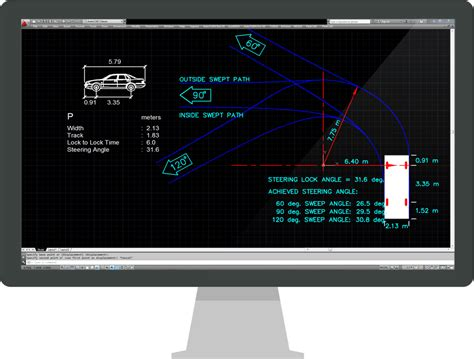 vehicle swept path templates vehicle turning templates features transoft solutions