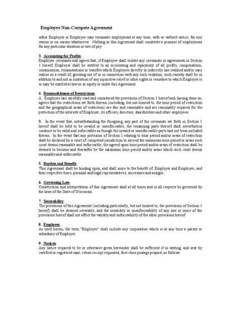 employee non compete agreement template employee non compete agreement form free