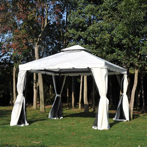 Outdoor Gazebo Curtains Outsunny 10 X 10 Steel Outdoor Garden Gazebo With Mesh Nets And Curtains Black White