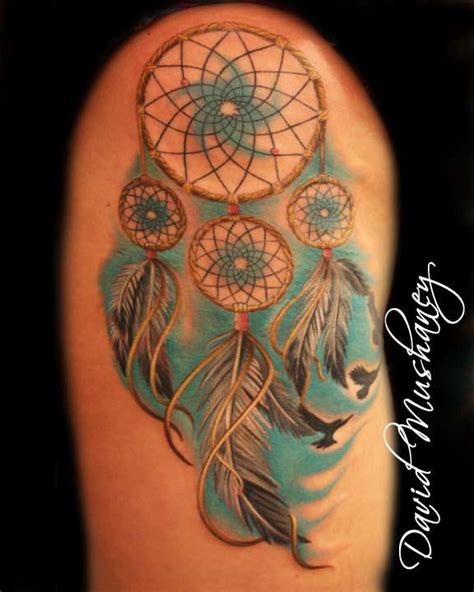 dream catcher tattoo with color dreamcatcher tattoo by david mushaney tattoos