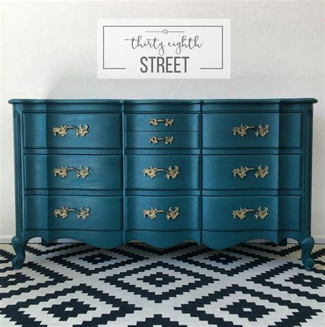 Painted Peacock Blue Dresser Makeover French Provincial Painted Bedroom Dressers