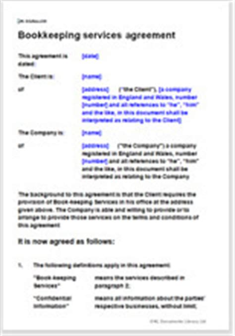 for bookkeeping services template bookkeeping services agreement