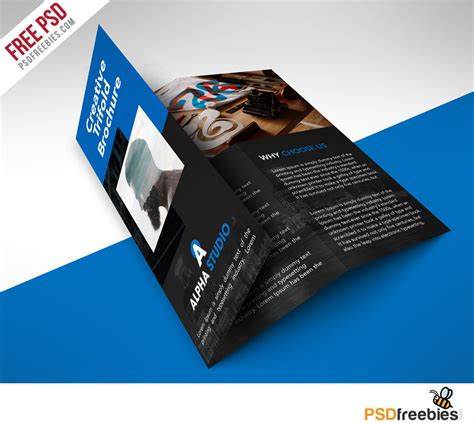 brochure photoshop templates creative agency trifold brochure free psd template