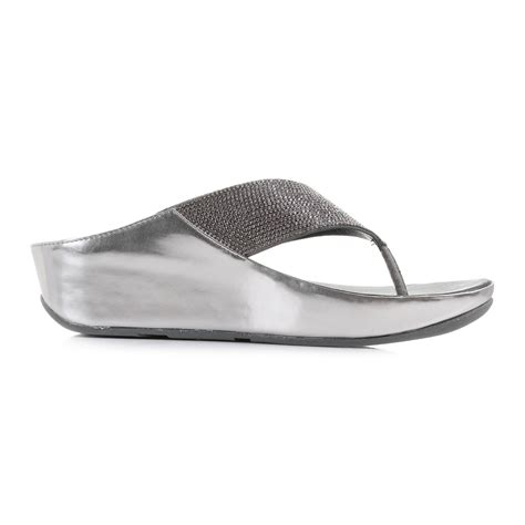 Sandal Wedges Terlaris New Fitflop Glitter womens fitflop crystall pewter glitter comfort wedge flip flop sandals shu size ebay