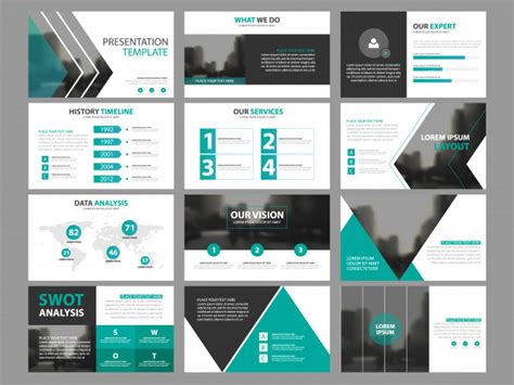 Business Presentation Infographic Elements Template Set Annual Report Corporate Horizontal Graphic Design Study Template