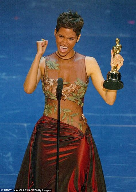 No Halle At The Oscars halle berry dons grey jacket and on the la set of