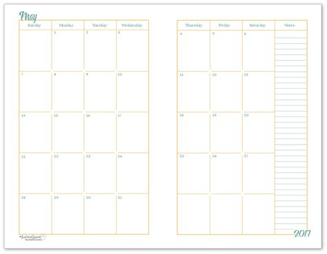 half page printable planner pages 2017 half size monthly calendar printables layouts