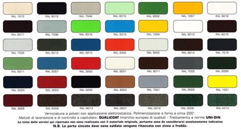tavola colori ral cmc verona basculanti in acciaio e porte sezionali