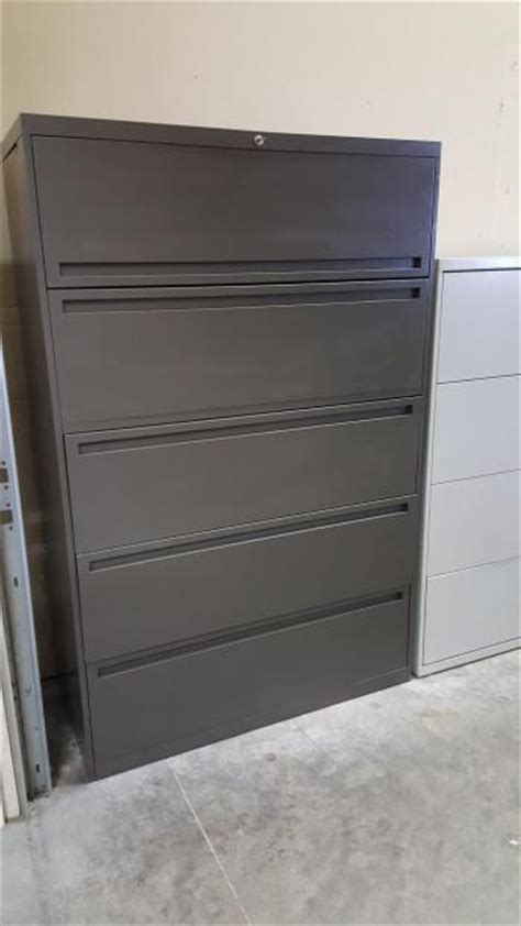 five drawer allsteel gray lateral file cabinet