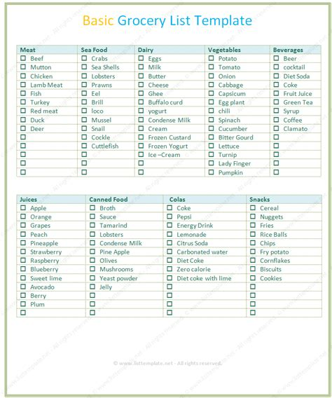 simple grocery list template basic grocery list template word list templates