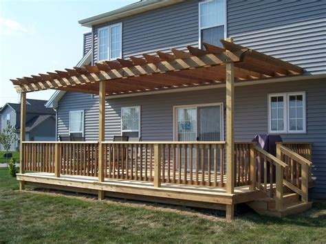 build pergola raised deck deck patio pinterest