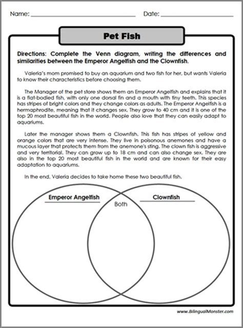category page template compare and contrast worksheets