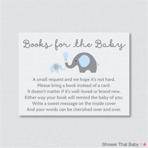 Book Instead Of A Card Baby Shower elephant baby shower bring a book instead of a card invitation