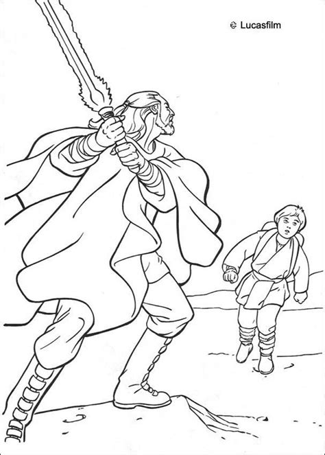 qui gon jinn and anakin coloring pages hellokids com