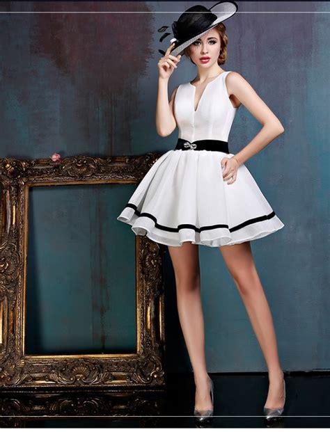 picture of 1950s prom tuxedo black and white retro short prom dress