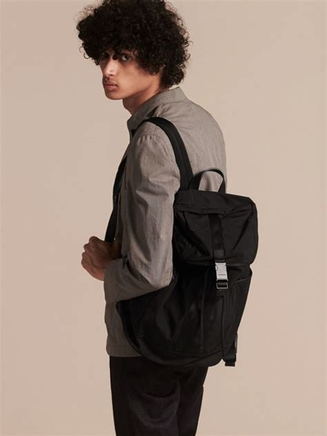 Contrast Trim Lightweight Backpack leather trim lightweight backpack black burberry