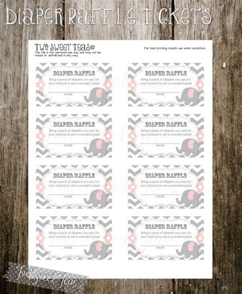 printable diaper raffle tickets elephant diaper raffle tickets elephant baby shower invitation