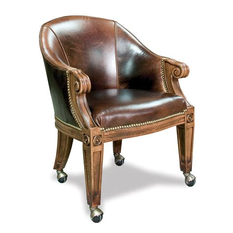 Quality poker chairs with casters amp custom leather ivey collection