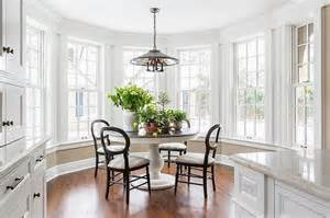 Black Marble Pedestal Breakfast Nook Bay Window Design Ideas