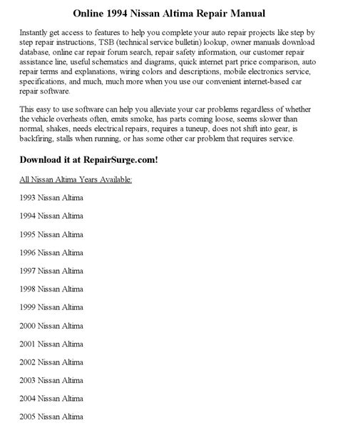 1994 nissan altima repair manual online by clark andrew issuu