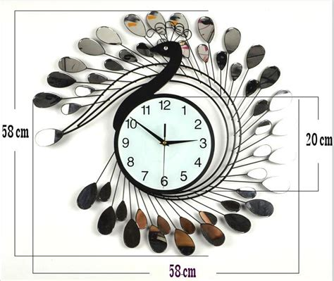 Best Wall Clocks For Living Room Fashion Peacock Design Silent Wall Clock Creative Craft