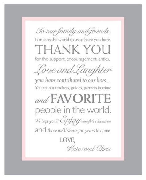 thank you letter to reception thank you note wedding reception ideas