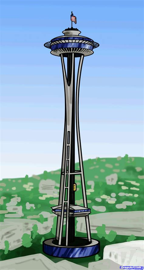 how to the how to draw the space needle step by step places landmarks places free
