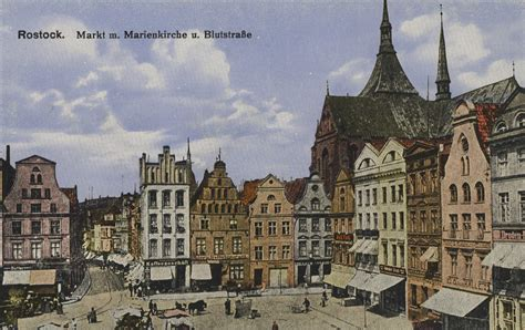 Postkarten Drucken Rostock by Rostock Hansestadt Mecklenburg Vorpommern Marktplatz