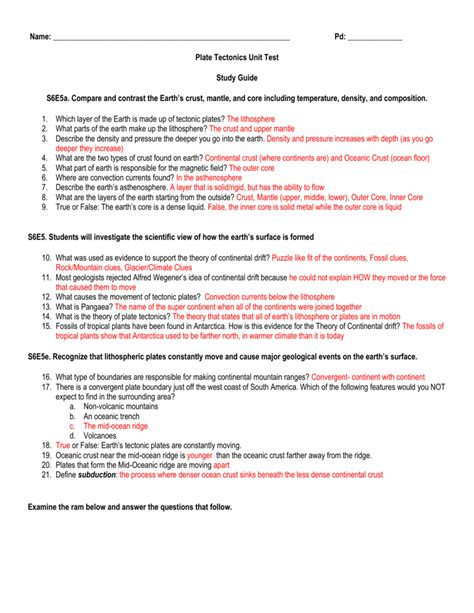 earthquake quiz questions and answers worksheet volcanoes and plate tectonics worksheet answers