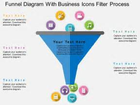 funnel diagram with business icons filter process flat
