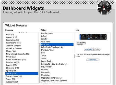 Apple's Dashboard Widget Download Site for OS X Broken