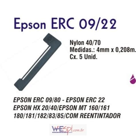 Pita Epson Erc 09 Erc 22 wespi atacado fita para impressora epson erc 09 22 preta 4mmx0 208m cx 5 unidades