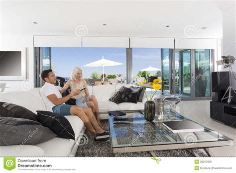 young couple room couple in living room royalty free stock photo image
