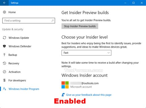 windows 10 insider tutorial enable or disable insider build settings in windows 10