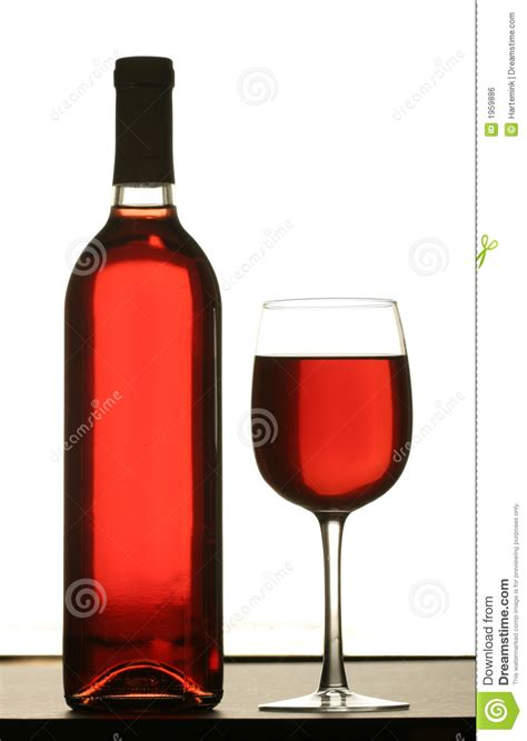 glass of wine with bottle of wine royalty free stock