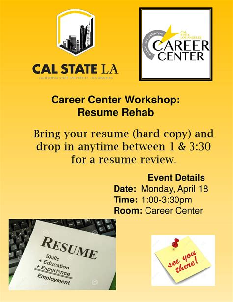 Career Center Resume by Career Center Workshop Resume Rehab Cal State La