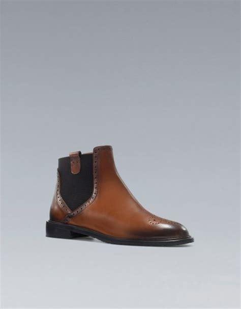 zara chelsea ankle boot in brown lyst