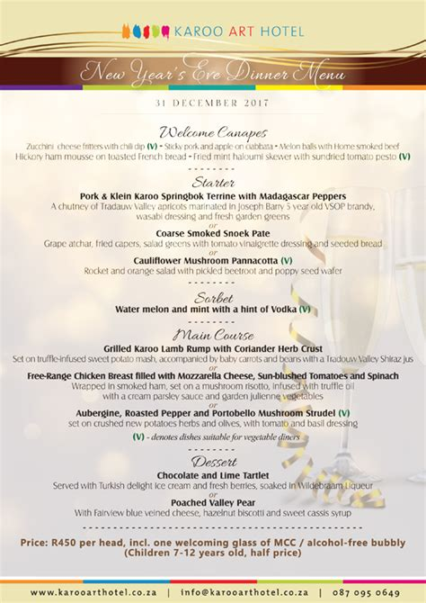 new year 2017 menu new year s 2017 dinner menu karoo hotel